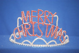 "3.9"" Red MERRY CHRISTMAS tiara with side combs"