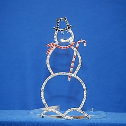 "Adorable 6"" snowman with candy cane. Side combs"