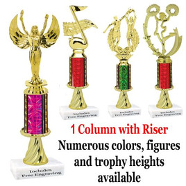 1 column with riser.  Numerous Sizes, Column colors and Figures available.