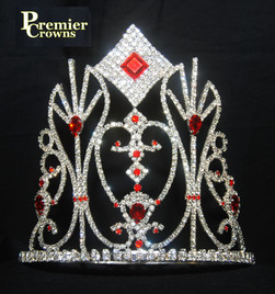 "6"" tall crown with red stone and adjustable band   (SH-062  d42)"