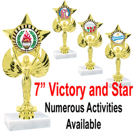 """7"""" Victory with Star insert holder.  Numerous Activities/Sports Available"""
