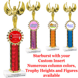 1 column with star insert holder.  Upload your logo or art work.  Numerous trophy heights, column colors and figures available