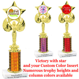 1 Column with Victory, star and your custom color insert.  Numerous column colors and trophy heights available