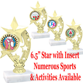 """6.5"""" Star Trophy with choice of numerous activities & sports insert"""