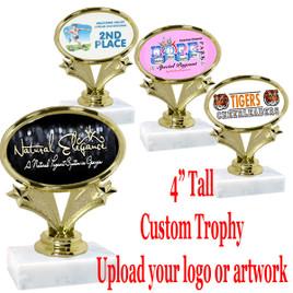 "4"" tall trophy with your custom insert.  Upload your logo or art work.  Great for participation and side awards (90064)"