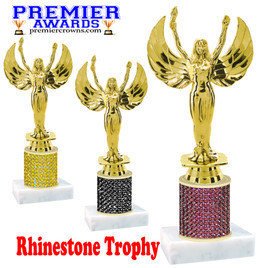 Rhinestone Trophy!  Victory Figure. Column is completely covered with rhinestones.  Choice of stone color and trophy height.