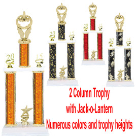 2 Column  Trophy with Jack-o-Lantern.  Numerous colors and Trophy heights available.