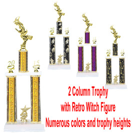 2 Column  Trophy with Retro Witch.  Numerous colors and Trophy heights available.