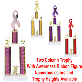 2 Column Trophy with Awareness Ribbon Figure.  Numerous figures, trophy heights and column colors available