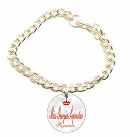 Pageant Charm Starter Set.  Bracelet and 1 charm with custom logo.