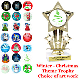 """6"""" Star trophy with choice of Christmas - Winter themed insert.  Numerous designs available."""