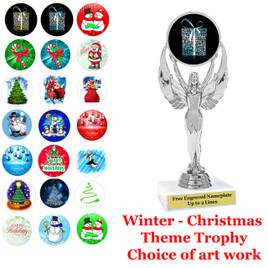 """6 1/2"""" Silver trophy with choice of Christmas - Winter themed insert.  Numerous designs available."""