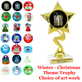 """6 1/4"""" Twisted star  trophy with choice of Christmas - Winter themed insert.    Numerous designs available."""