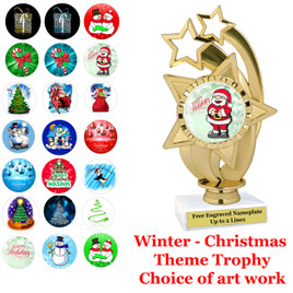 """6""""   """"Stars over Star""""  trophy with choice of Christmas - Winter themed insert.    Numerous designs available."""