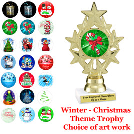 """6 1/4""""   """"9 Stars""""  trophy with choice of Christmas - Winter themed insert.    Numerous designs available."""