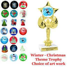 """7 5/8""""   Victory with star trophy with choice of Christmas - Winter themed insert.    Numerous designs available."""