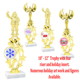 """10 1/2"""" - 12"""" Star riser with choice of figure.   Choice of Holiday insert.  Numerous designs available."""