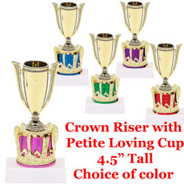"""Crown with Loving Cup on Base  4 1/2"""" tall.  Choice of color.  Great award for side titles, participation and princess awards!"""