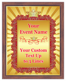 Custom Full Color Plaque (2).  Brown plaque with full color plate. 5 Plaques sizes available