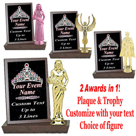 Color Custom Plaque and Trophy in One!   Choice of figure.  (002)