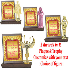 Color Custom Plaque and Trophy in One!   Choice of figure.  (003)
