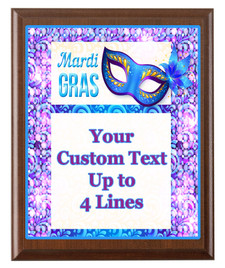 Mardi Gras Theme Full Color Plaque.  Customize with your text.  5 Plaques sizes available.