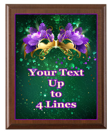 Mardi Gras Theme Full Color Plaque.  Customize with your text.  5 Plaque sizes available.  003