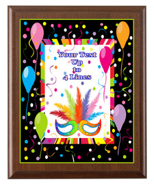 Mardi Gras Theme Full Color Plaque.  Customize with your text.  5 Plaque sizes available.  004