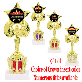 """Victory with star on Crown riser.  Choice of crown color and numerous titles available.  9"""" Tall"""