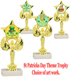 "7 5/8"" St. Patrick's Day theme trophy.  Choice of art work design   (7517)"