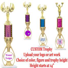 "Custom Trophy.  Choice of column color, figure and trophy height.  Height starts at 14"".  Upload your logo or custom art work.  (6014)"