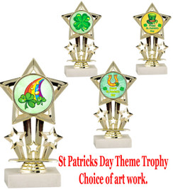 "6"" St. Patrick's Day theme trophy.  Choice of art work design   (767)"
