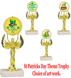 "7 1/2"" St. Patrick's Day theme trophy.  Choice of art work design   (80087)"