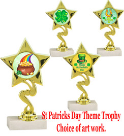 "6 1/4"" St. Patrick's Day theme trophy.  Choice of art work design   (80106)"