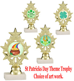 "6 1/4"" St. Patrick's Day theme trophy.  Choice of art work design   (ph75)"