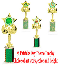 "St. Patrick's Day theme trophy.  Choice of art work, column color and trophy height.  Height starts at 10"".  (7517)"