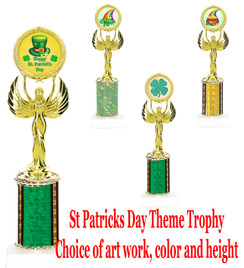 "St. Patrick's Day theme trophy.  Choice of art work, column color and trophy height.  Height starts at 10"".  (800877)"