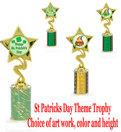 "St. Patrick's Day theme trophy.  Choice of art work, column color and trophy height.  Height starts at 10"".  (80106)"