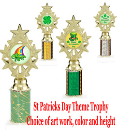 "St. Patrick's Day theme trophy.  Choice of art work, column color and trophy height.  Height starts at 10"".  (ph75)"