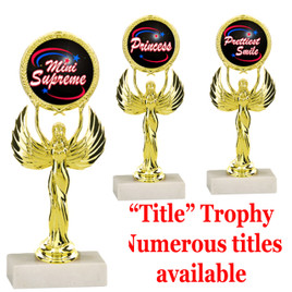 """7 1/2"""" tall Title Specific Trophy.  Numerous titles available.  (80087)"""