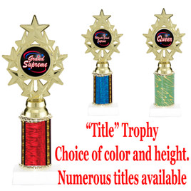 """""""Title"""" Specific trophy.  Numerous titles available.  Choice of color, trophy height and title.  Height starts at 10""""  (ph75)"""