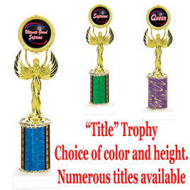"""""""Title"""" Specific trophy.  Numerous titles available.  Choice of color, trophy height and title.  Height starts at 10""""  (80087)"""