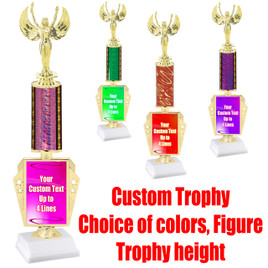 "Customizable trophy.  Choice of column color,  figure and trophy height.  Height starts at 14""  (r450)"