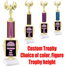 "Customizable trophy with Crown artwork.  Choice of column color,  figure and trophy height.  Height starts at 14""  (r450)"
