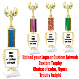 "Upload your logo or custom artwork for your Custom Trophy.  Choice of column color,  figure and trophy height.  Height starts at 14""  (r450)"