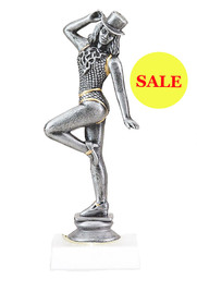 "6"" Silver Dance figure on base.   Antique silver finish, not a bright finish"