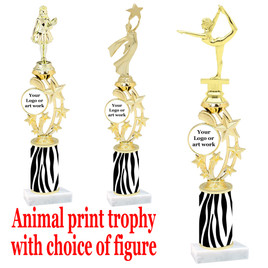"Custom Trophy.  Animal Print column with choice of figure and trophy height.  Height starts at 14"".  Upload your logo or custom art work.  (mr200-001"