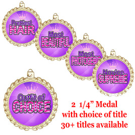 """Title Medals 2 1/4"""" diameter.  30+ titles available with free engraving and neck ribbon"""