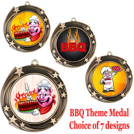 BBQ Theme Medal.  Choice of 7 designs.  Includes free back of medal engraving and neck ribbon