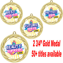"""Gold Medal 2 3/4"""" diameter with choice of insert.  Over 50+ titles available.  New titles!  Includes free neck ribbon and back of medal engraving.  (938)"""